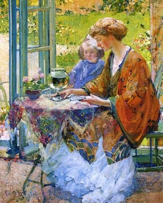Richard Edward Miller (American painter, 1875-1943) Goldfish 1912An American artist who was able to combine all of the elements of Impressionism into purely American paintings was Richard (Edward or Emil) Miller (1875–1943). Here we have it all--goldfish, Asian robes, parasols, taking tea, a milliner, women at ease, fans, cafes, & gardens--all the subjects so dear to the hearts of the Impressionists.