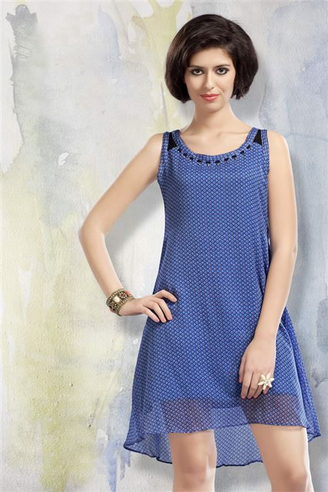 Elegant Blue Chiffon Kurti