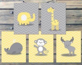 Wal-Chevron gelb grau Baumschule Kunst - sofort-DOWNLOAD - Monkey Moose Giraffe Elefant-Satz von 5 Zigs Zack Kinderzimmer Decor