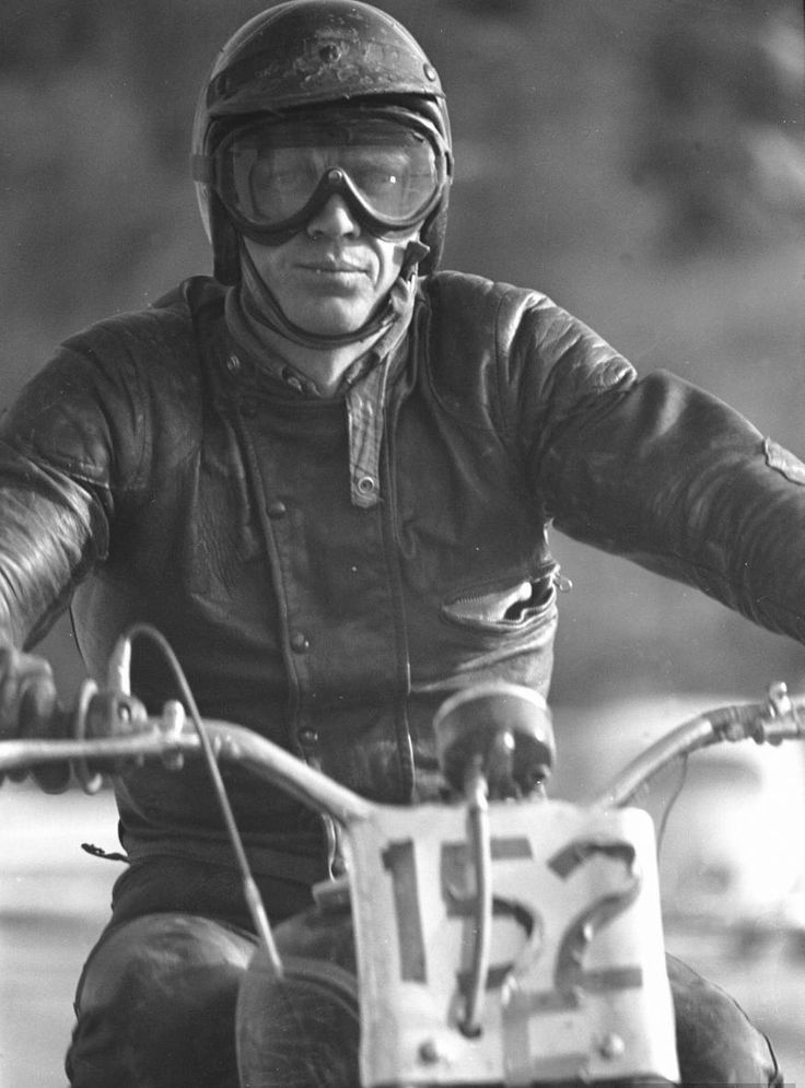 Steve McQueen in classic Lewis Leather jacket.
