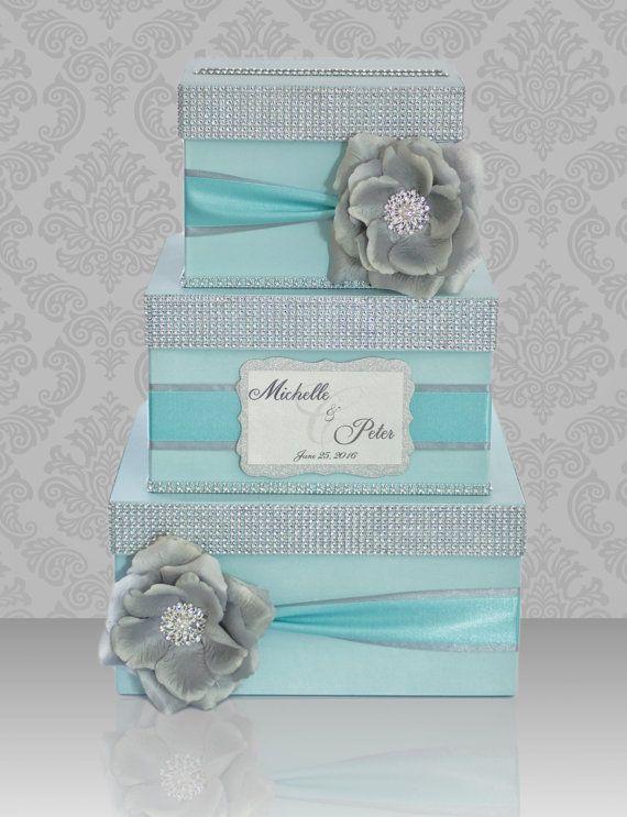 Tiffany blue wedding - card box, money box, silver flower, brooch, rhinestones