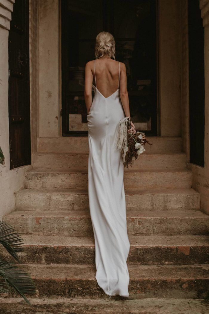 Fashion Silk Lace Low Back Wedding Dresses 2020 Bridal Dresses Trend In 2020 Wedding Dress Trends Silk Wedding Dress Summer Gowns