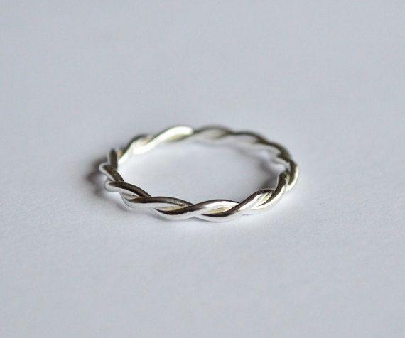 Anello treccia,anello argento 925,anello corda,anello impilabile,anello intreccio,anello donna,anello tutti giorni,fatto a mano,made  Italy