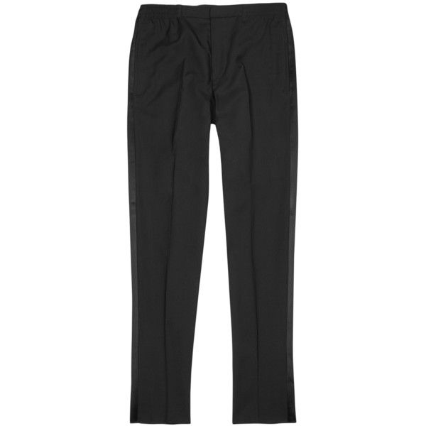 Alexander McQueen Black Wool Tuxedo Trousers - Size W30 ($850) ❤ liked on Polyvore featuring men's fashion, men's clothing, men's pants, mens wool pants, mens tuxedo pants, mens wool dress pants, mens elastic waist dress pants and mens elastic waistband pants