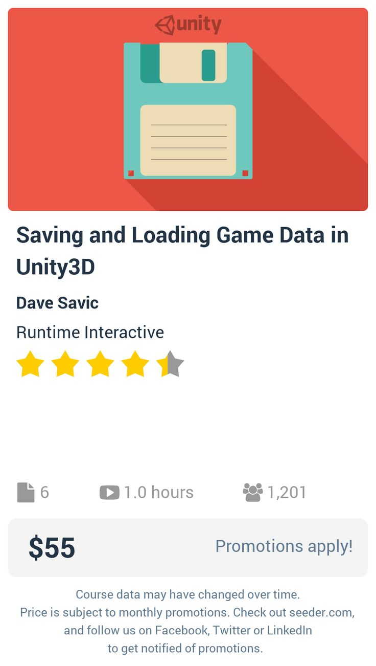 Saving and Loading Game Data in Unity3D | Seeder offers perhaps the most dense collection of high quality online courses on the Internet. Over 13,800 courses, monthly discounts up to 92% off, and every course comes with a 30-day money back guarantee.