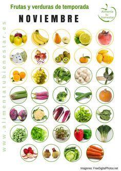 Frutas y verduras de temporada para noviembre #alimentatubienestar Sigue el enlace de la imagen y descárgate el calendario en pdf para todo el año