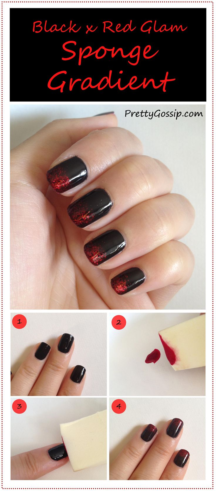 EASY {Sponge Gradient Nails} Tutorial + Helpful Tips on http://prettygossip.com/2012/09/17/black-x-red-nails-sponge-gradient-nail-tutorial/#