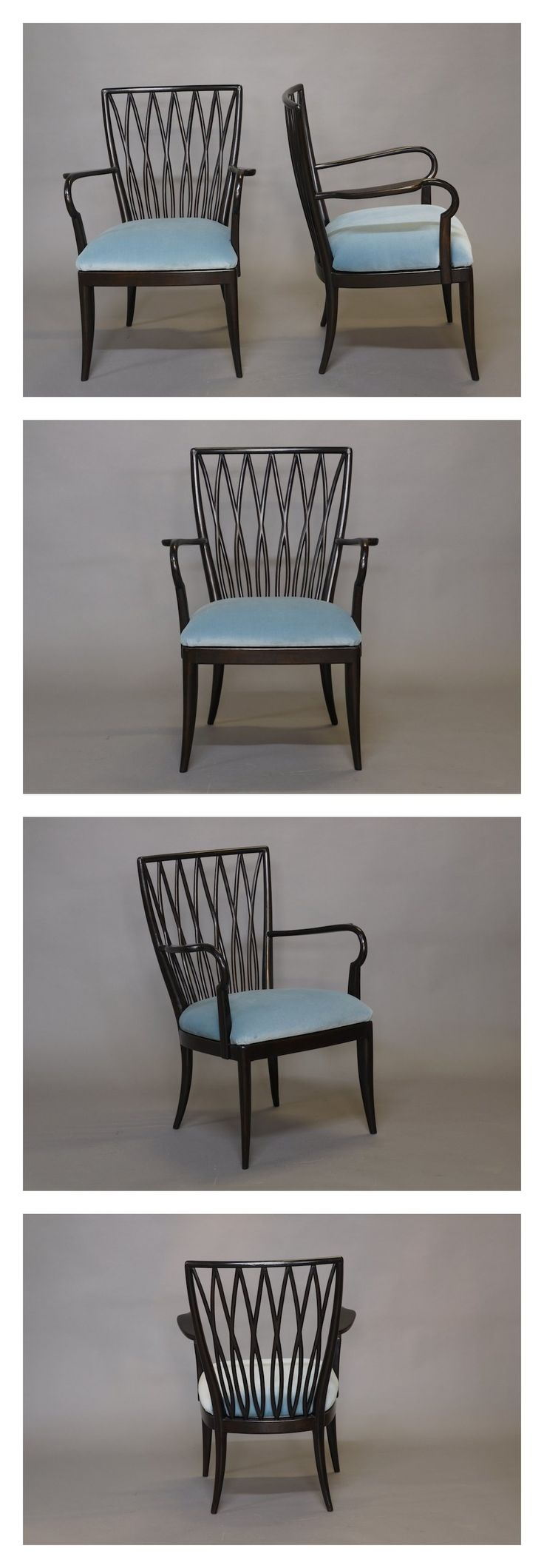 Charming #Italian Pair Of Ebonised Elm Side Chairs, C.1940. #1940s #