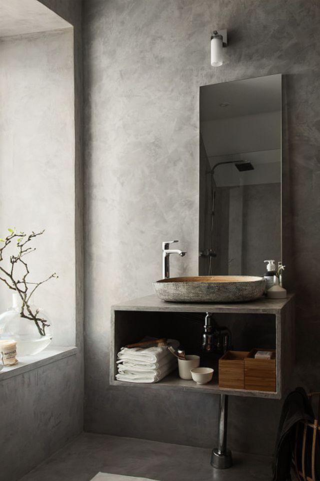 A beautiful concrete grey bathroom | Stil Inspiration | Bloglovin'