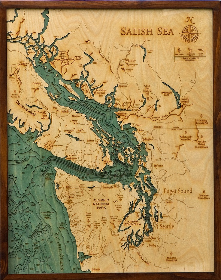 An intricate network of coastal waterways, the Salish (SAY-lish) Sea includes the Strait of Georgia, the Strait of Juan de Fuca, the Puget Sound, and all of their connecting channels and adjoining waters. This name was only recently made official (2009), in an effort to raise consciousness about the interconnectedness of the region's waters and ecosystems.
