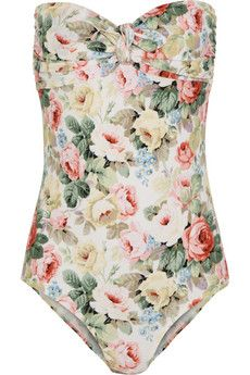 Miu Miu Rose-print bandeau swimsuit | THE OUTNET