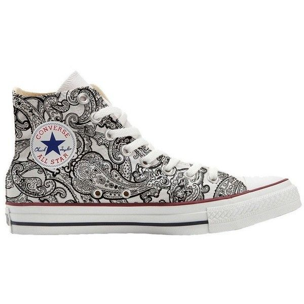 Converse All Star unisex printed Italian style (handicraft product)... ❤ liked on Polyvore featuring shoes, converse shoes, white black shoes, unisex shoes, black and white shoes and converse footwear
