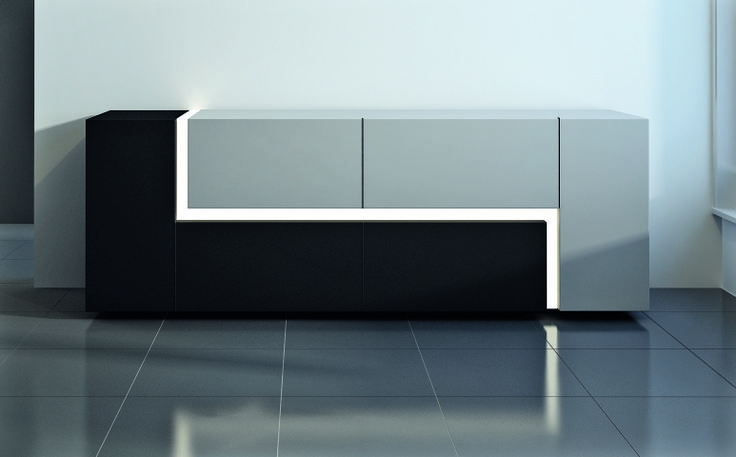 Elle Elle, design Gianluigi Gorgoni.  #sideboard with matt lacquered structure, and anodized #aluminum front panels, Elle Elle is enlightened by backlights #LEDs #minimal #contemporary #design #gianluigigorgoni. Ronda Design.