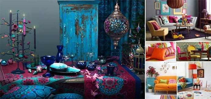 Gipsy, kitsch, hippie o bohémien: il colore entra in casa #homedecor #design