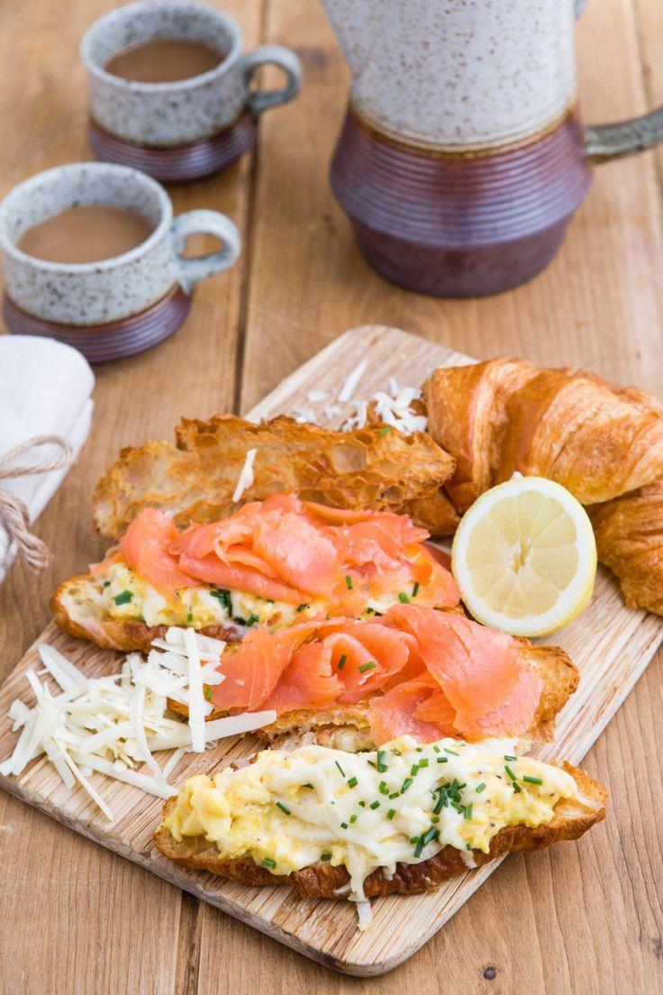 Smoked salmon, scrambled egg & gruyere all butter croissants.
