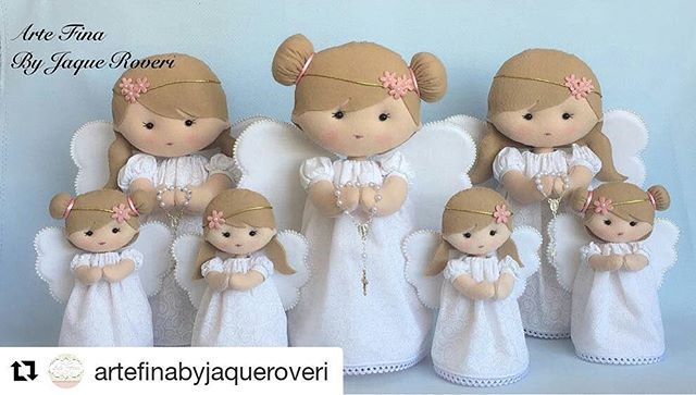 Boa noite meninas Durmam com os anjos !! Anjinhas do ig  @artefinabyjaqueroveri ・・・ Anjinhas lindas pra uma cliente muito fofa #anja #anjinha #batizado #batizadodemenina