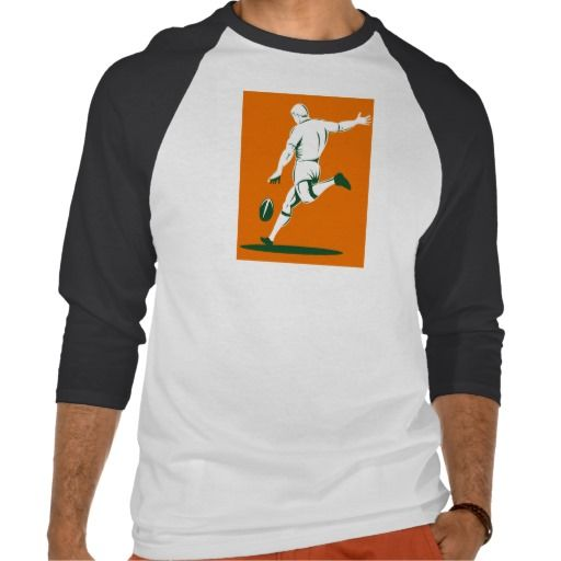 rugby player kicking ball t-shirts. retro style illustration of a rugby player kicking the ball. #retro #rugbyplayerkickingball #rwc #rwc2015 #rugbyworldcup