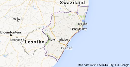 The place demarcated in purple line is a province (Kwazulu Natal) where the accused Andrew Zondo was born and also spent part of his childhood at.