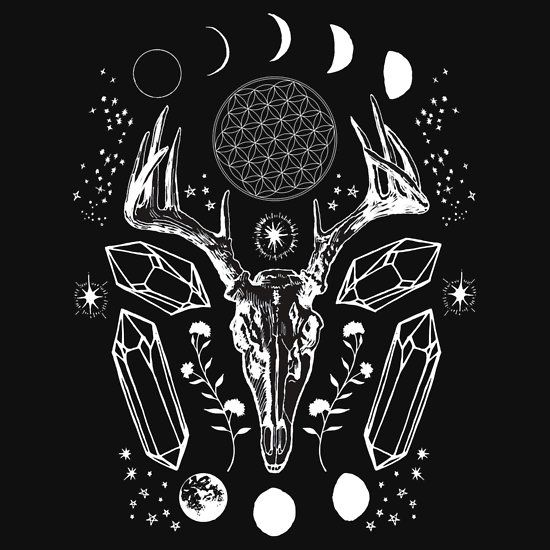 Crystal Moon. by wolfandbird on Redbubble. Looks gorgeous on tees & cosmetic pouches, check out the shop for more witchy and crystal magic inspiration. #occult #softgrunge