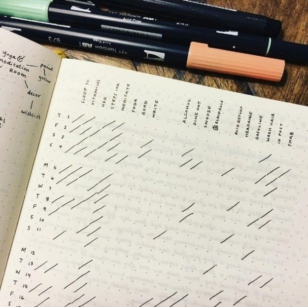 This clean and bright monthly habit tracker:   24 Minimalist Bullet Journal Layouts To Soothe Your Weary Soul