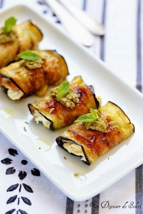 Roules aubergines jambon ricotta et olives.