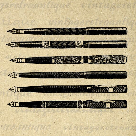 Pens Collage Sheet Printable Graphic Image Antique Illustration Digital Download Vintage Clip Art. Vintage high resolution digital image illustration from antique artwork for making prints, iron on transfers, and more great uses. For personal or commercial use. This graphic is large and high quality, size 8½ x 11 inches. Transparent background version included with every digital image.