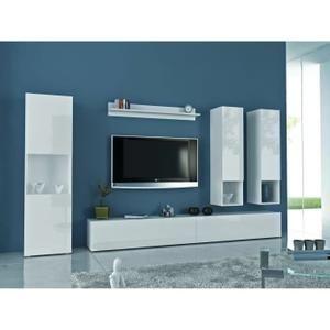 Meuble Tv QUEST Meuble TV mural 300cm laqué blanc comprenant