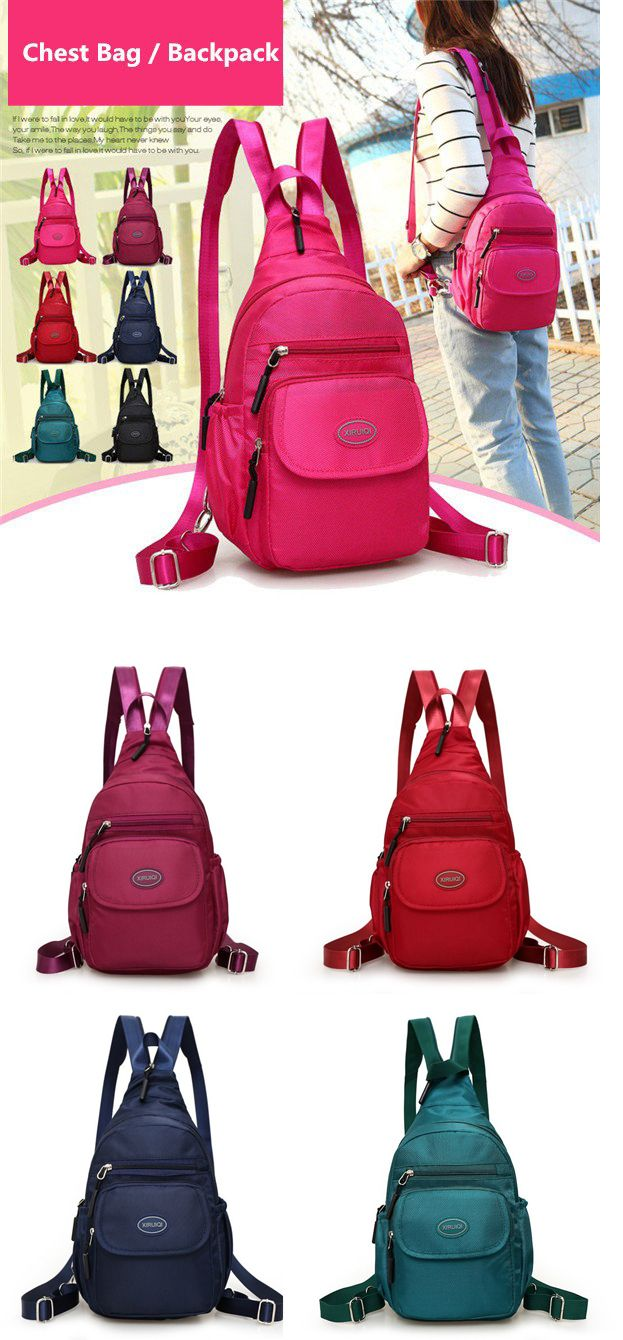 25e0a9d221 Women Nylon Casual Chest Bag Lightweight Backpack Shoulder Bags ...