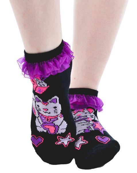 Lucky Cat Ruffled Ankle Socks