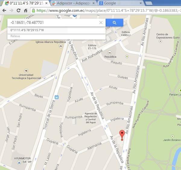 Muchas veces la dirección tradicional de un sitio al cual necesitas ir no la puedes cargar en el GPS directamente. Lo que uno hace es ir a Google Maps y encontrar el sitio. ¿Cómo pasar esto el GPS?. Puedes cargar directamente  las coordenadas de Google Maps al GPS y llegar perfectamente.