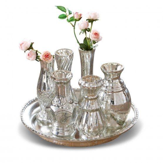 Tablette mit Vase Blairville Antik Silber | LOBERON