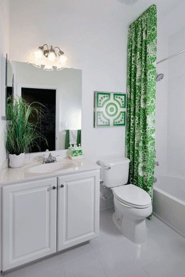 Great tip: hang the shower curtain from the ceiling...totally makes the room.