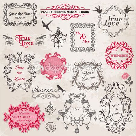 cornici d'epoca nozze ed elementi di design - in vettoriale — Illustrazione vettoriale #11511822