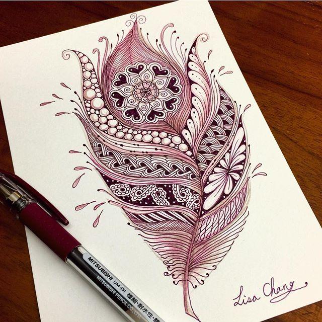 Zentangle feather artwork                                                                                                                                                      More