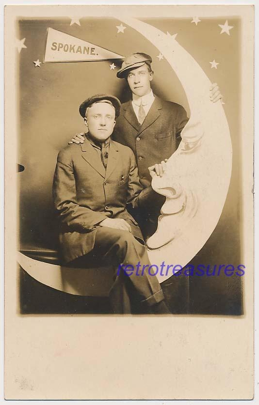 Dapper Men in  Paper Moon Embrace Vtg RPPC Photo