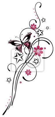 tattoo bloem met vlinder - Google zoeken