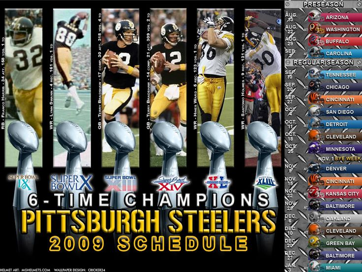 2009 schedule Pittsburgh steelers football, Nfl steelers