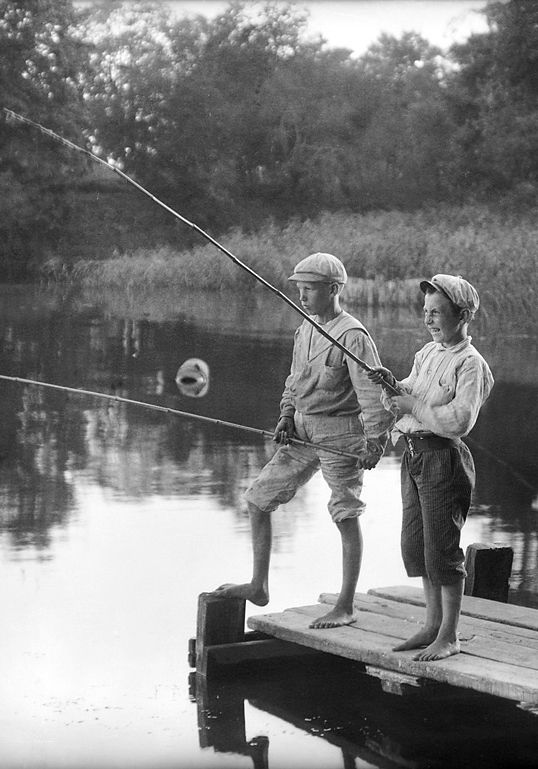 +~+~ Vintage Photograph ~+~+  Boys enjoying an afternoon of fishing
