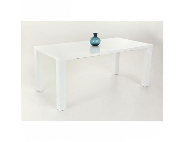 Jídelní stůl 140/180, rozkládací, MDF, bílá extra vysoký lesk HG, ASPER