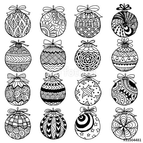 Vector: Hand drawn Christmas balls zentangle style for coloring book.