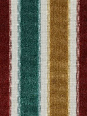 Red Teal Upholstery Fabric - Striped Velvet Yardage - Teal Home Decor - Velvet Headboard - Red Yellow Teal - Furniture Fabric