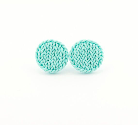 Little mint round earrings - knit imitation earrings - mint earring studs - polymer clay tiny mint circles