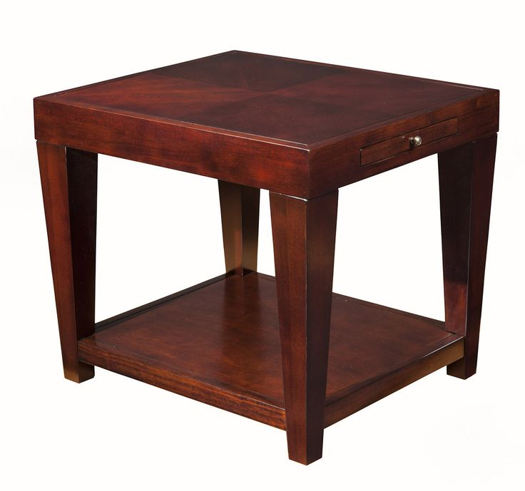 Wilmington End Table With Shelf W Pull Out Tray Alpine Furniture Home Gallery Stores