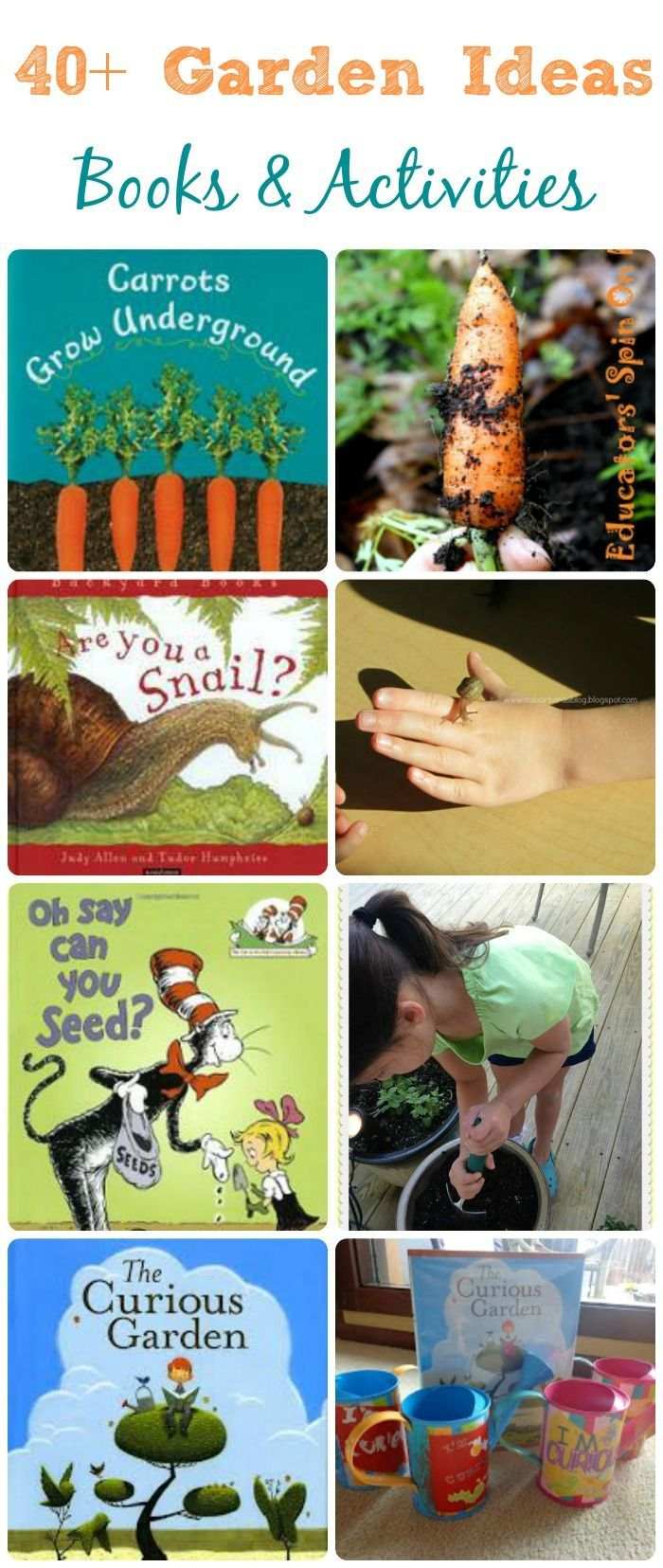 Garden books & activities for kids -- great summer proojects for kids and fun ways to learn about plants & gardens!