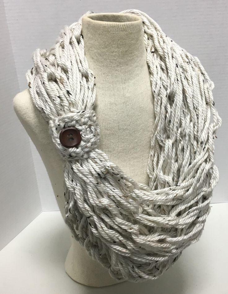 Kay S Crochet Bulky Oatmeal Rope Scarf With Wood Button
