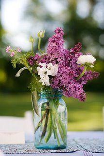 mason jar: Blue Mason Jars, Decor, Ideas, Masons, Wedding, Purple Flowers, Mason Jars Centerpieces, Lilacs, Center Piece