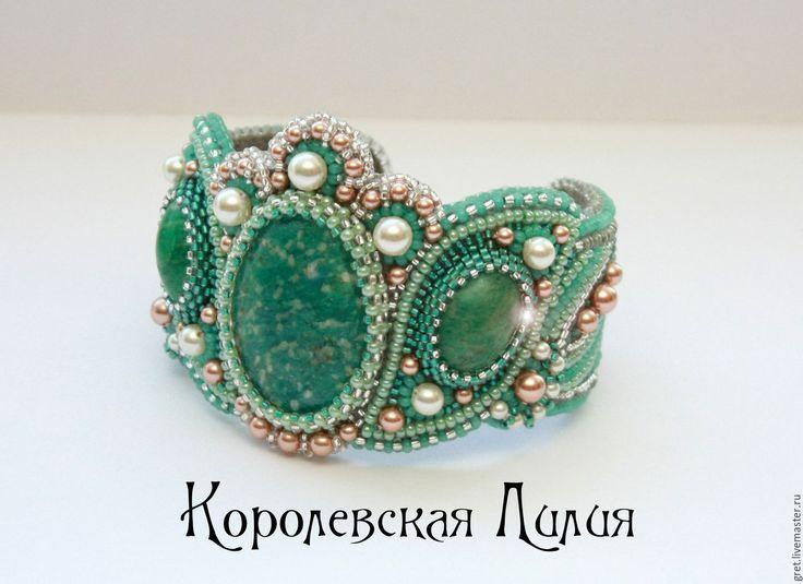 """Купить Браслет """"Королевская Лилия"""" - мятный, романтичный, барокко, крупный, браслет с камнями, амазонит"""