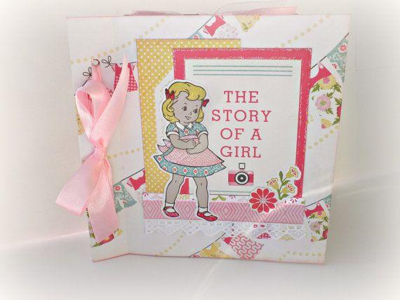 Girl mini album Scrapbook photo album Premade by sweetpaperlife