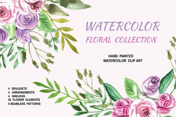Watercolor floral collection by TATIANA_GERICH on @creativemarket