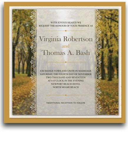 265 Square Wedding Invitations - Autumn Gold Horizon by WeddingPaperMasters.com. $662.50. Now you can have it all! We have created, at incredible prices & outstanding quality, more than 300 gorgeous collections consisting of over 6000 beautiful pieces that are perfectly coordinated together to capture your vision without compromise. No more mixing and matching or having to compromise your look. We can provide you with one piece or an entire collection in a one stop s...